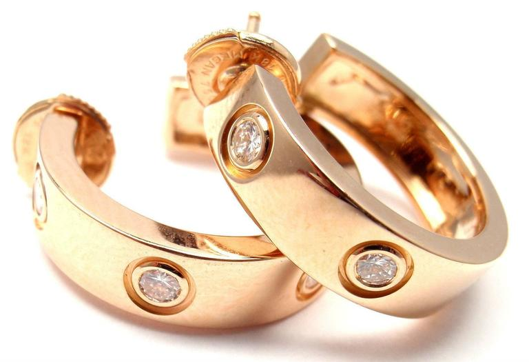 Cartier Love Diamond Gold 150th Anniversary Limited Edition Hoop Earrings 6