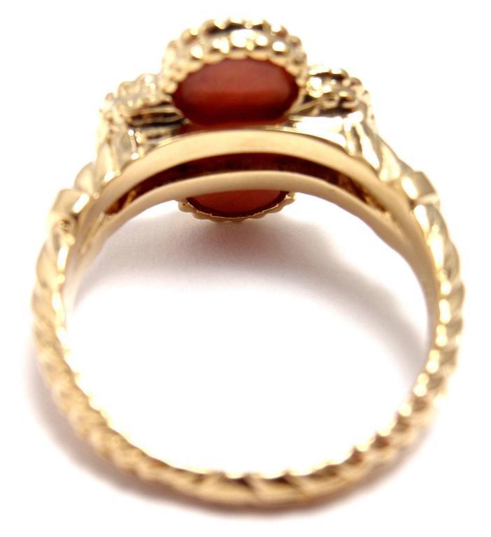 Van Cleef & Arpels Vintage Alhambra Coral Diamond Gold Ring For Sale 1