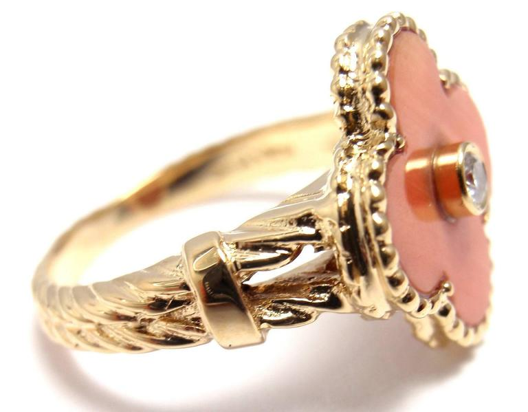 Women's or Men's Van Cleef & Arpels Vintage Alhambra Coral Diamond Gold Ring For Sale