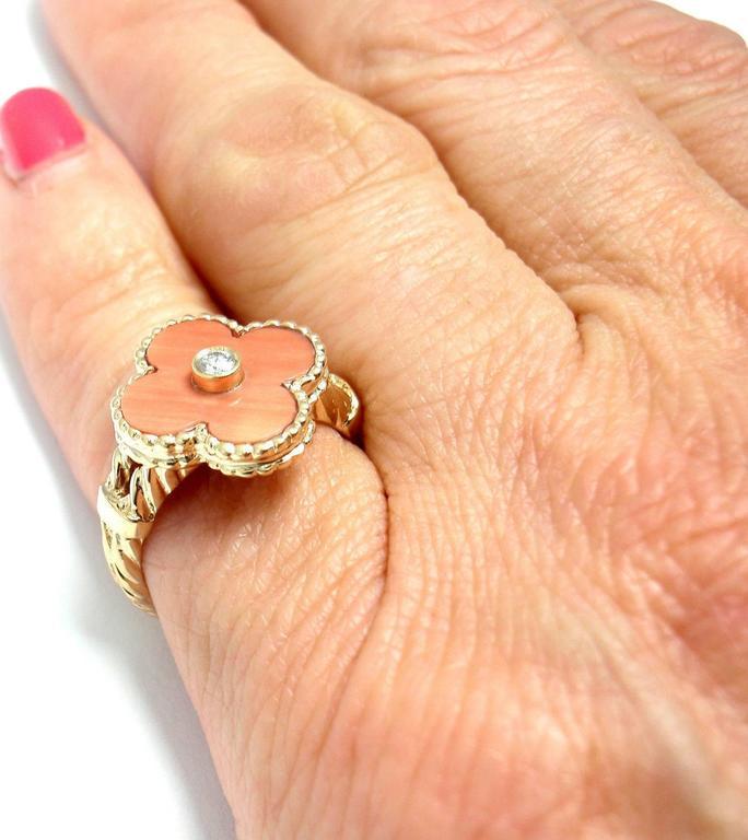 Van Cleef & Arpels Vintage Alhambra Coral Diamond Gold Ring For Sale 3