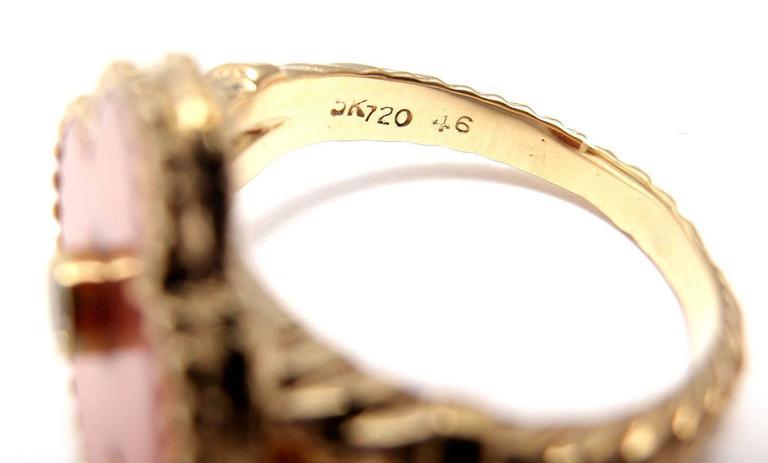 Van Cleef & Arpels Vintage Alhambra Coral Diamond Gold Ring For Sale 2