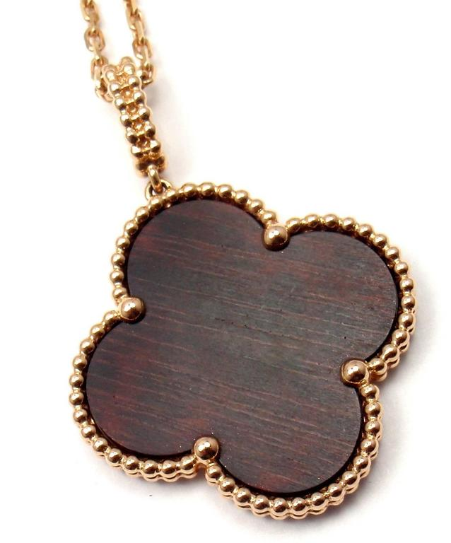 Van cleef and arpels magic alhambra snakewood pendant long rose gold 18k rose gold magic alhambra snakewood pendant long necklace by van cleef arpels with aloadofball Choice Image