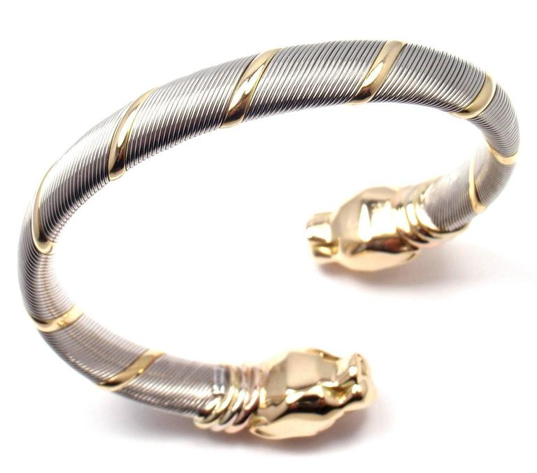 18k Tri Color Yellow White Pink Gold And Stainless Steel Panther Cartier Panthere Tricolor Bangle Bracelet