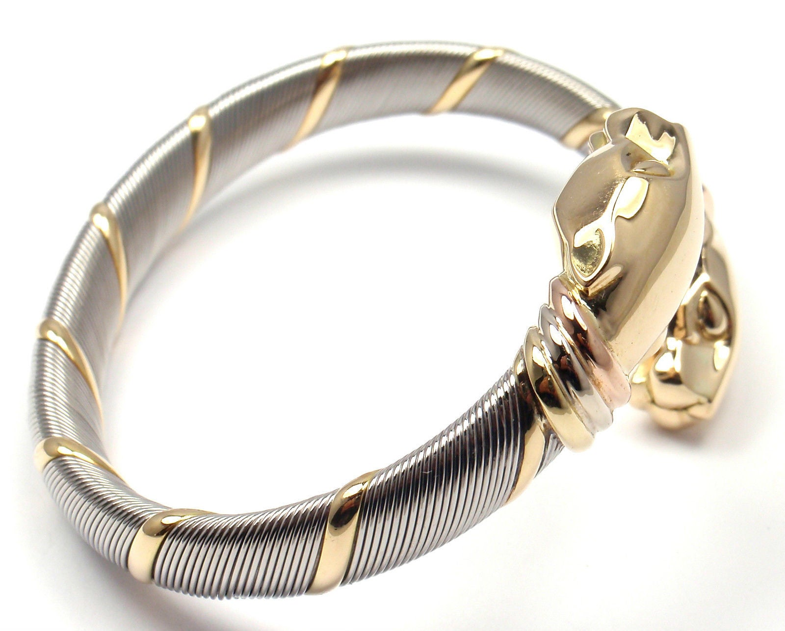 7a9d670675dc2 Cartier Panthere Stainless Steel Tricolor Gold Bangle Bracelet