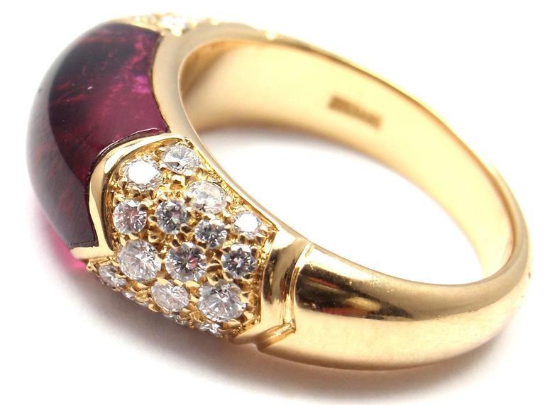 Bulgari Pink Tourmaline Diamond Gold Ring 3