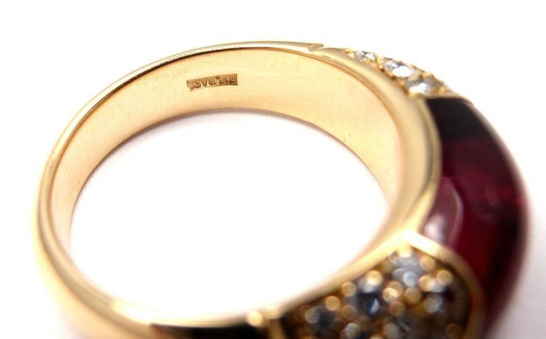 Bulgari Pink Tourmaline Diamond Gold Ring 8