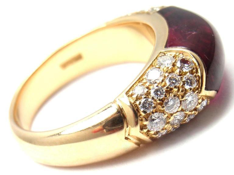 Bulgari Pink Tourmaline Diamond Gold Ring 7