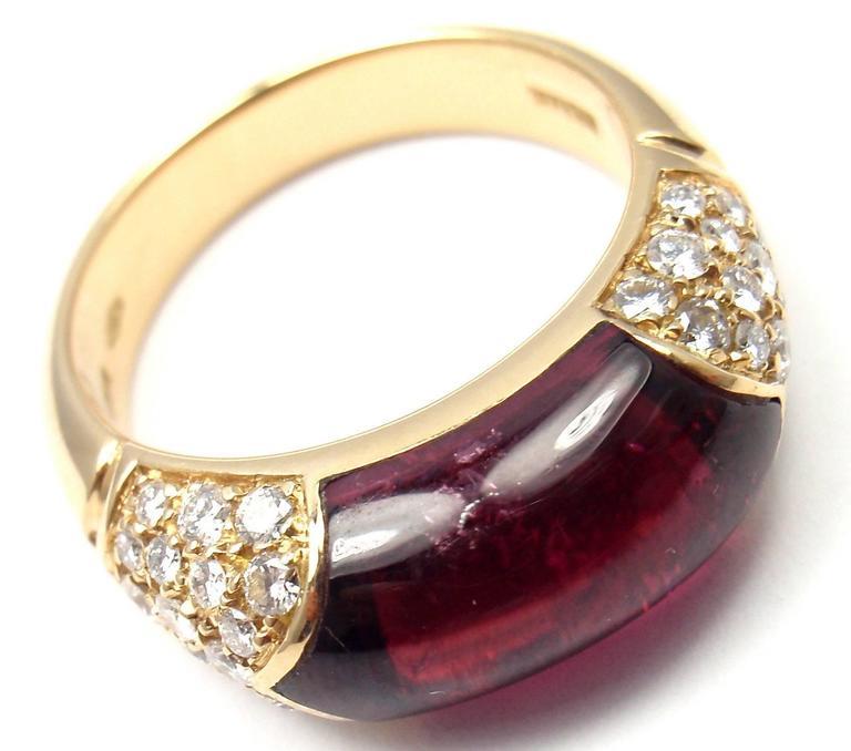 Bulgari Pink Tourmaline Diamond Gold Ring 9