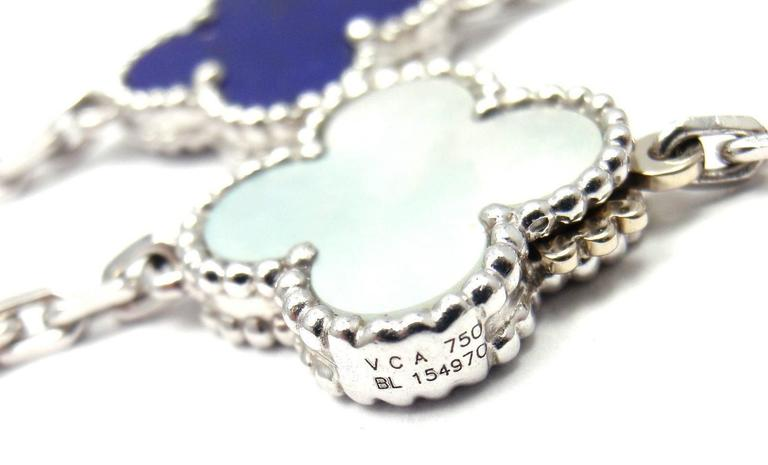 f48333141c8b9 Van Cleef   Arpels Lucky Alhambra Turquoise Lapis Necklace In New Condition  For Sale In Holland