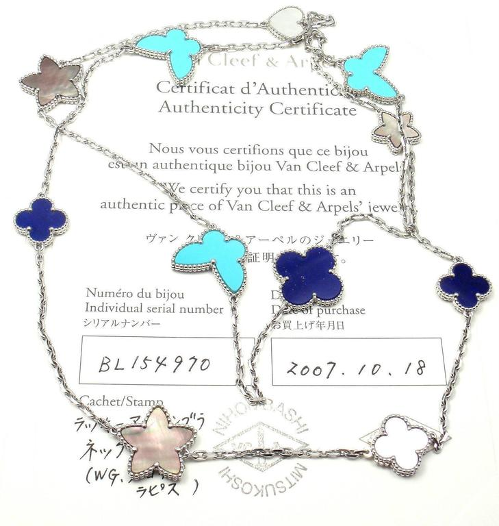 9ae6db2e9d0d7 18k White Gold Lucky Alhambra Turquoise Lapis Mother of Pearl Necklace by  Van Cleef   Arpels