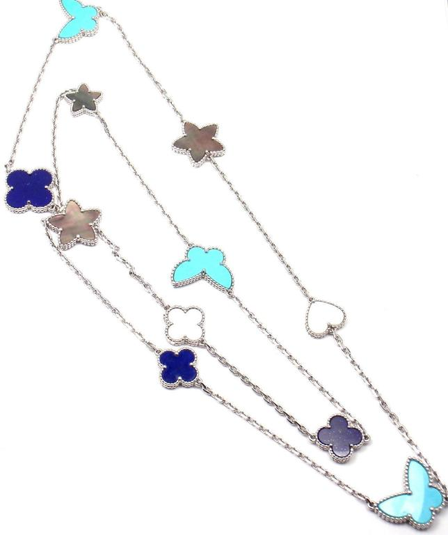 a892d8da400c5 Van Cleef and Arpels Lucky Alhambra Turquoise Lapis Necklace at 1stdibs