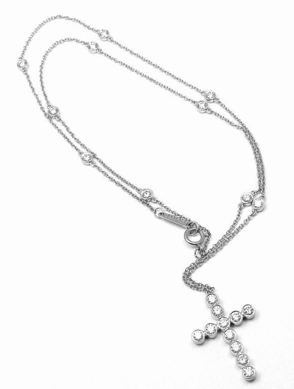 db3443d3c Platinum Diamond Jazz Cross Pendant Necklace by Tiffany & Co. With 21 round  brilliant cut