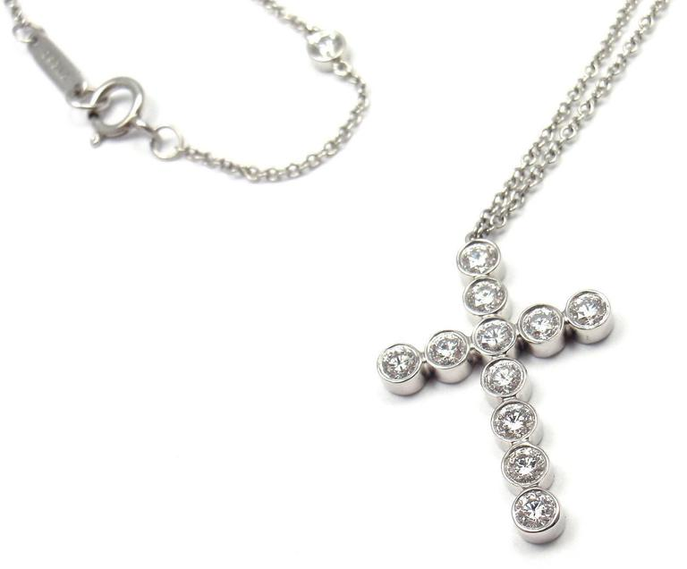 a527efe37 Tiffany & Co. Jazz Diamond Platinum Cross Pendant Necklace In New Condition  For Sale In