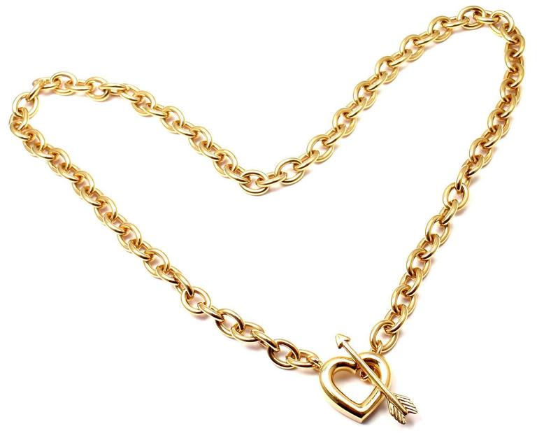 Tiffany & Co. Heart And Arrow Link Toggle Gold Necklace 2