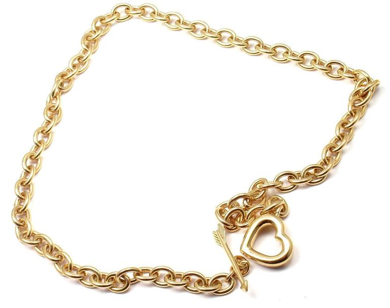 Tiffany & Co. Heart And Arrow Link Toggle Gold Necklace 4