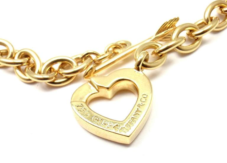 Tiffany & Co. Heart And Arrow Link Toggle Gold Necklace 6