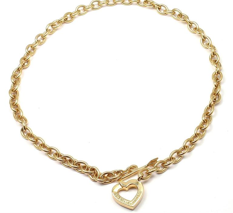 Tiffany & Co. Heart And Arrow Link Toggle Gold Necklace 8