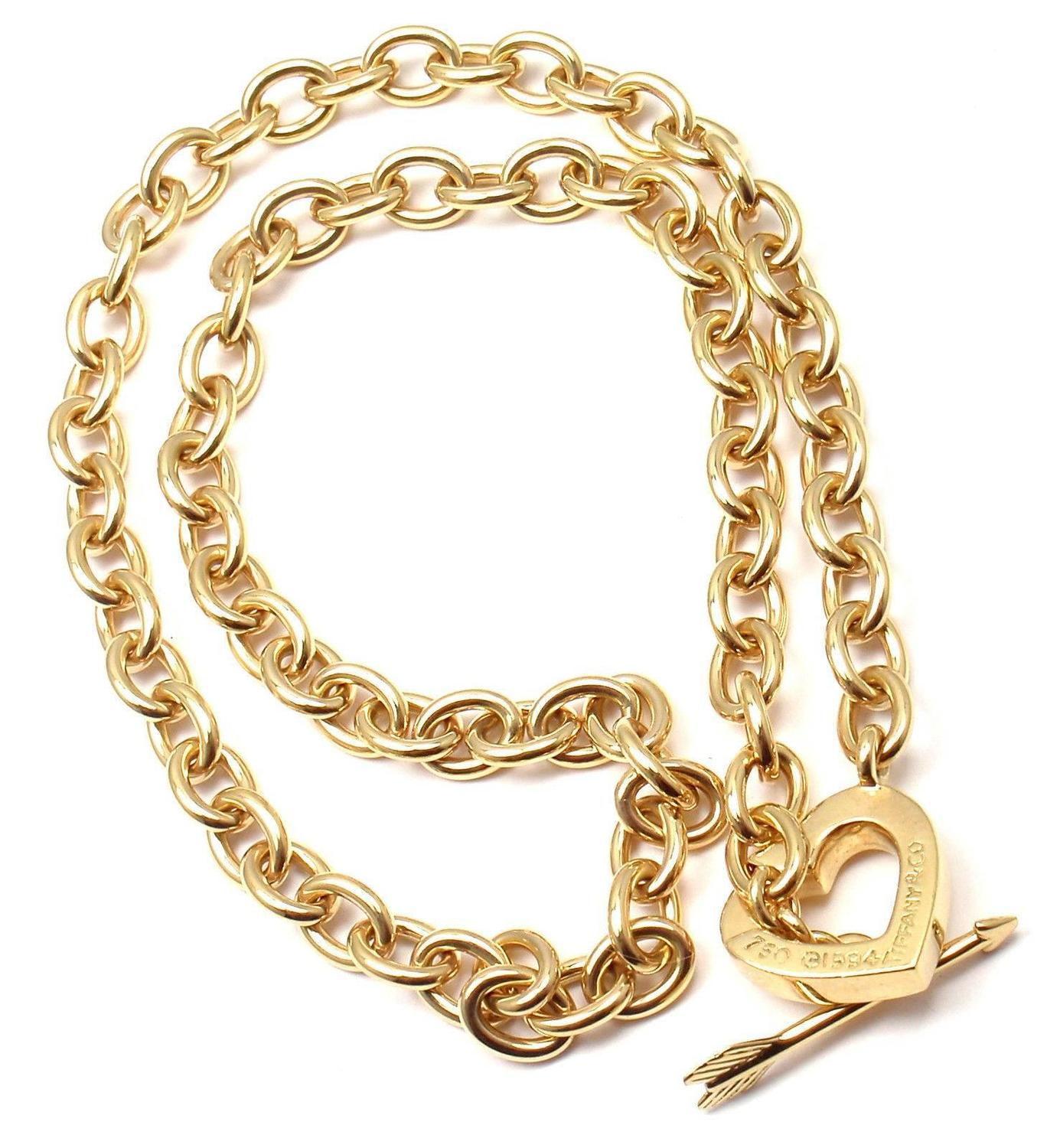 Tiffany and co heart and arrow link toggle gold necklace for New mom jewelry tiffany
