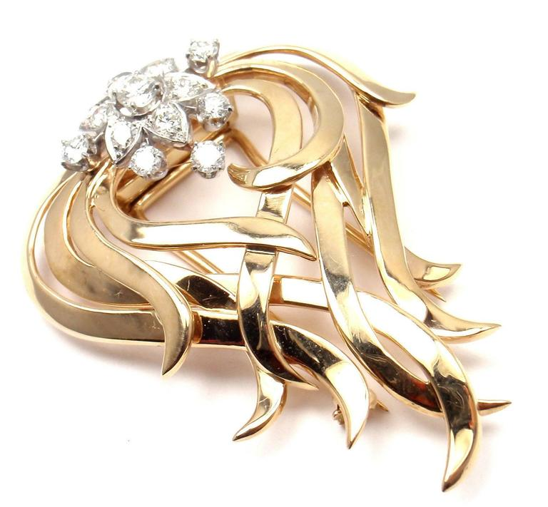 """14k Yellow Gold And Platinum Diamond Pin Brooch by Tiffany & Co.   With 12 round brilliant cut natural yellow diamonds and natural white diamonds Total weight approx. .55ct  Details:   Measurements: 1 3/4"""" x 1 1/2"""" Weight: 15.4 grams  Stamped"""
