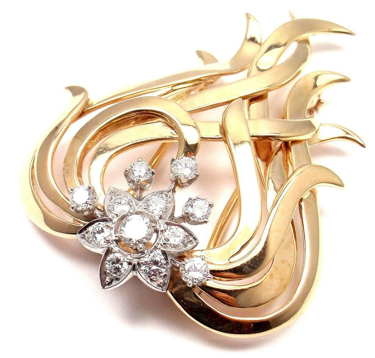 Tiffany & Co. Diamond Gold Platinum Pin Brooch In As New Condition For Sale In Southampton, PA