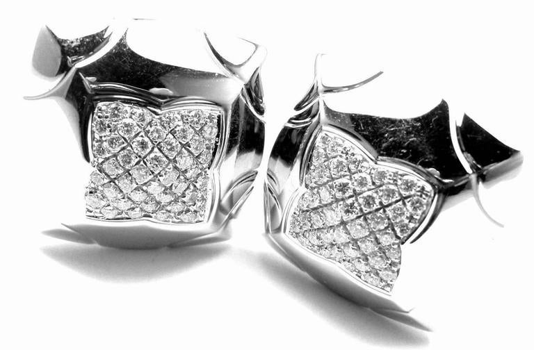 18k White Gold Diamond Piramide Large Earrings by Bulgari. 
