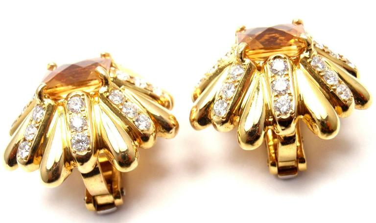 Cartier Aldo Cipullo Citrine Diamond Gold Earrings In As new Condition For Sale In Southampton, PA