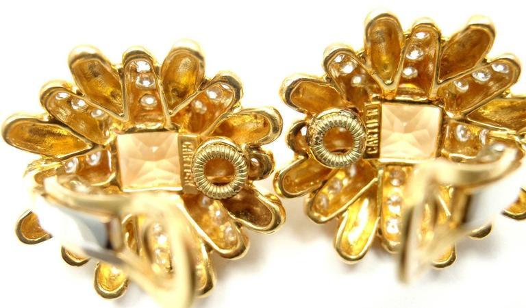 Cartier Aldo Cipullo Citrine Diamond Gold Earrings 4
