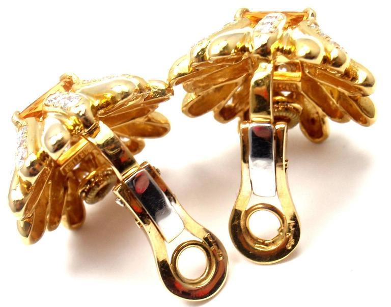 Cartier Aldo Cipullo Citrine Diamond Gold Earrings 5