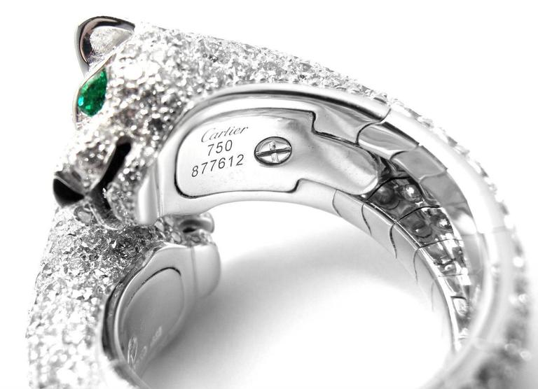 3a6c1c50267d4 Cartier Double Panther Lakarda Emerald Diamond Gold Ring In New Condition  For Sale In Holland