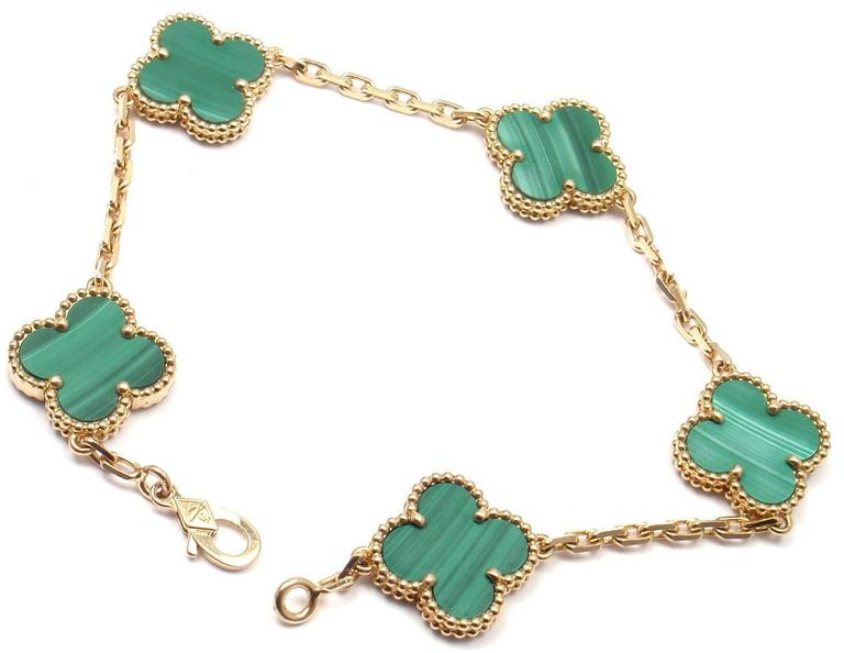 Van Cleef And Arpels 5 Motif Vintage Alhambra Malachite Gold