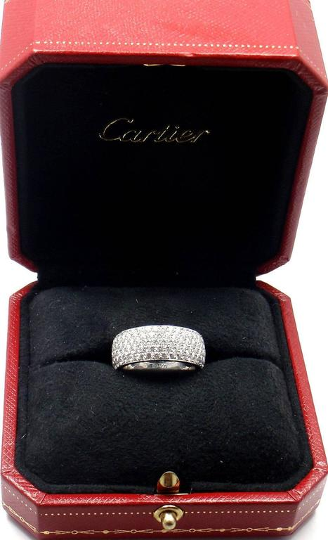 Cartier Diamond Gold Wide Band Ring For Sale 4