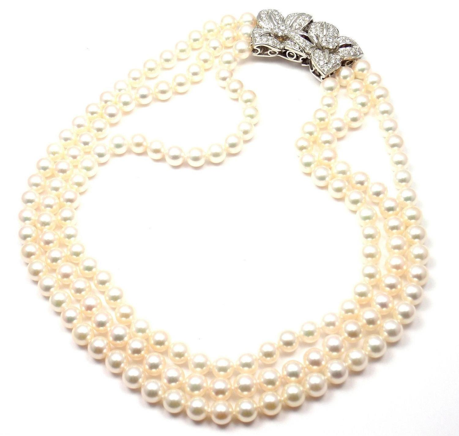 Mikimoto Triple Strand Cultured Akoya Pearl Diamond