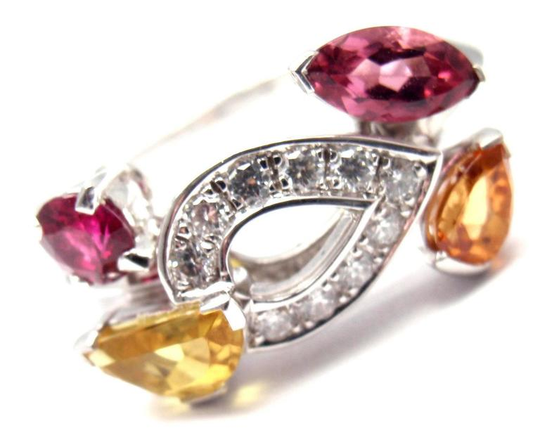 18k White Gold Diamond Tourmaline Sapphire Ruby Sorbet Ring by Cartier.