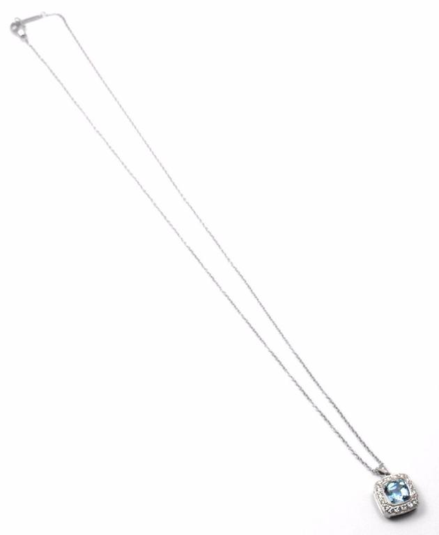 Tiffany & Co. Aquamarine Diamond Platinum Legacy Pendant Necklace 3