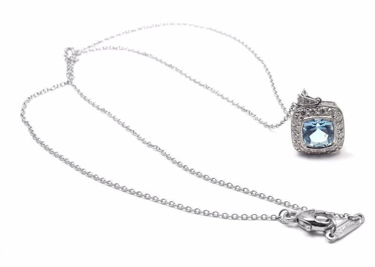 Tiffany & Co. Aquamarine Diamond Platinum Legacy Pendant Necklace 5