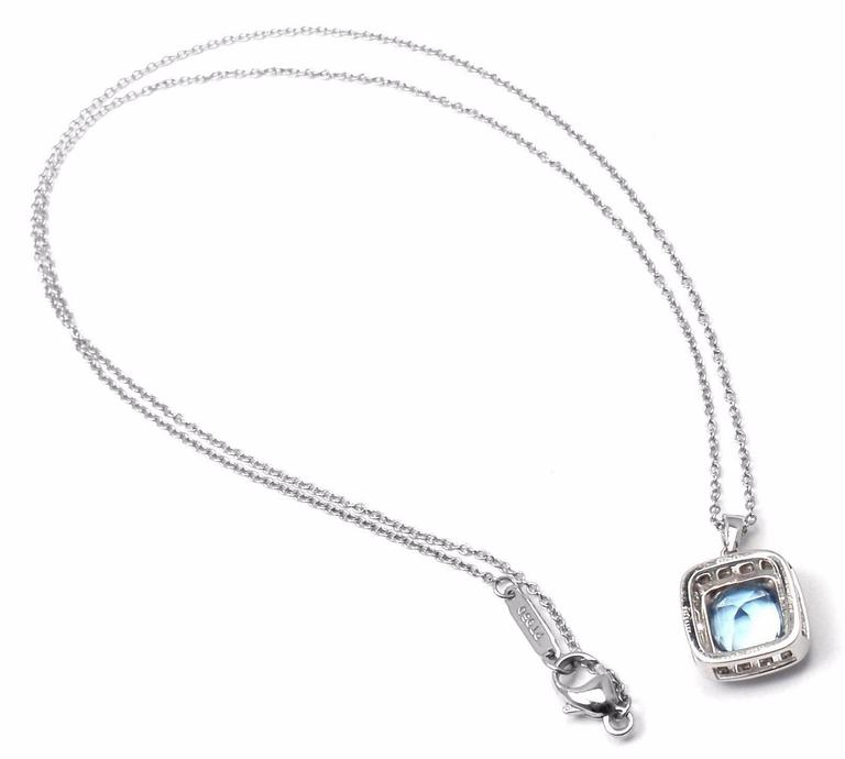 Tiffany & Co. Aquamarine Diamond Platinum Legacy Pendant Necklace 9
