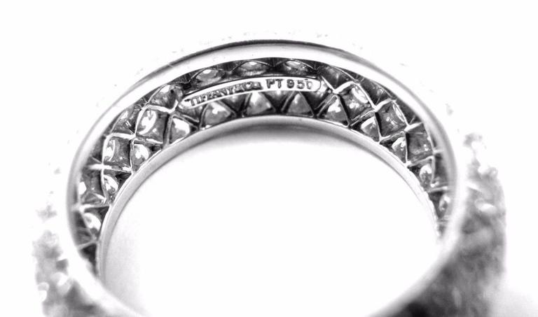 Tiffany And Co Etoile Four Row Diamond Platinum Band Ring