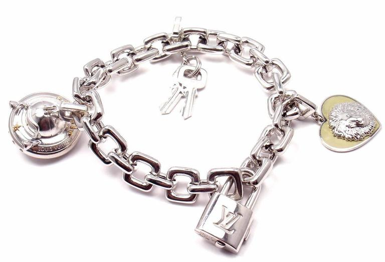 Louis Vuitton Charm Link White Gold Bracelet With Charms At