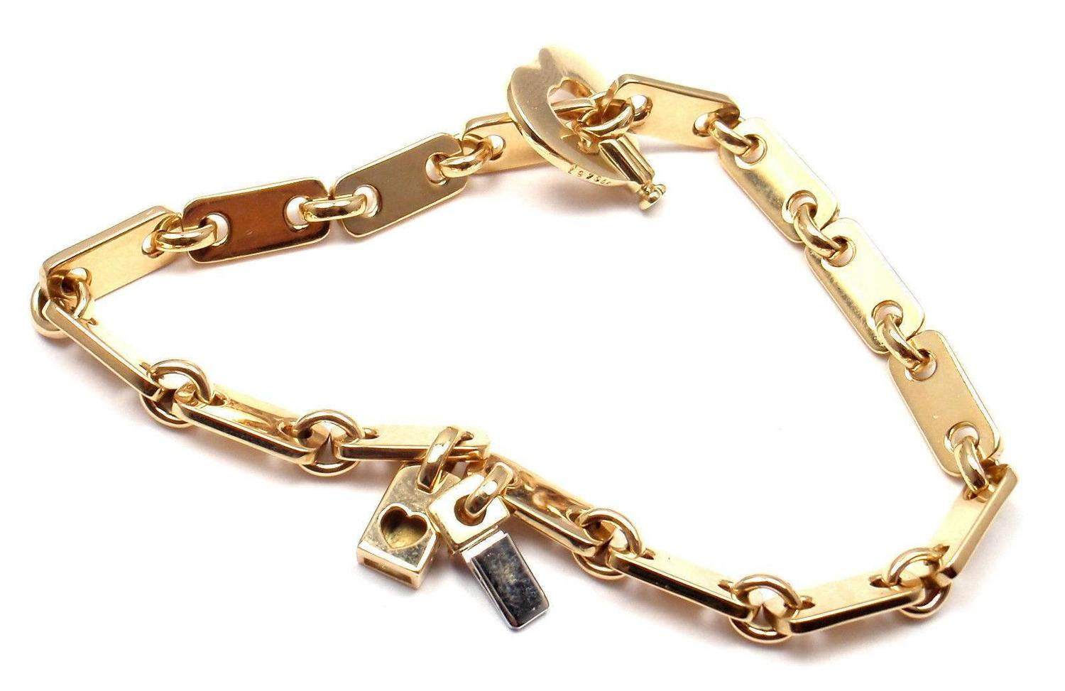 cartier locking bracelet cartier gold lock charm link bracelet at 1stdibs 8724