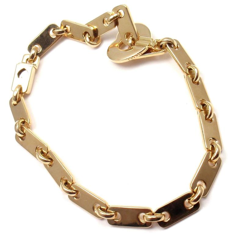 cartier locking bracelet cartier gold lock charm link bracelet at 1stdibs 6241