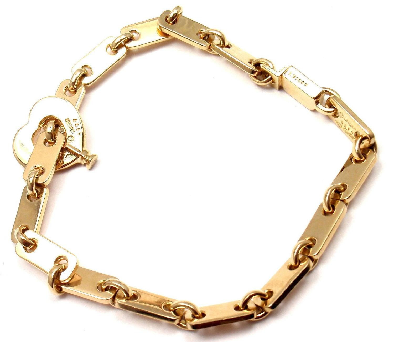 cartier locking bracelet cartier gold lock charm link bracelet at 1stdibs 3804
