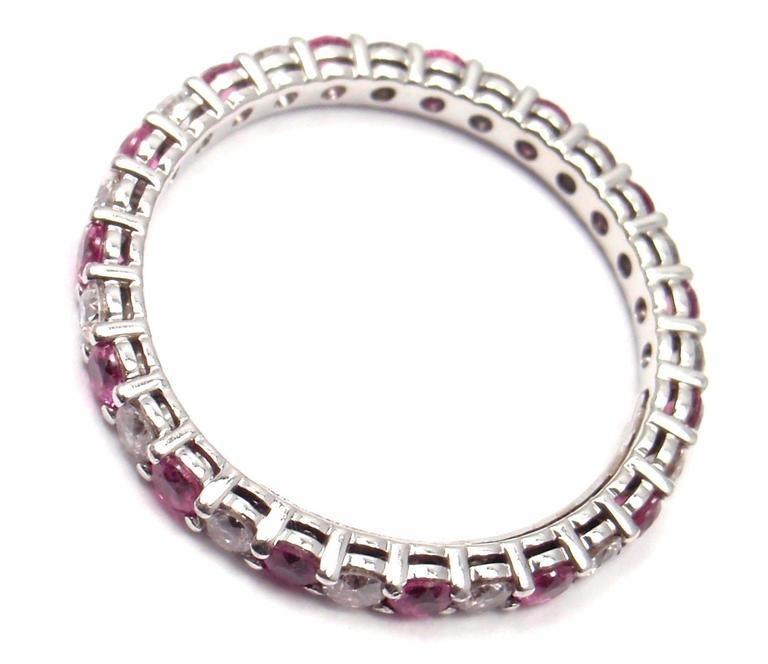 Women's or Men's Tiffany & Co. Diamond Pink Sapphire Shared Setting Platinum Band Ring For Sale