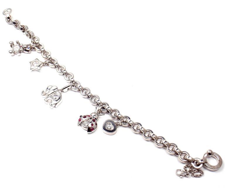 18k Yellow Gold Hy Diamond Elephant Ruby Ladybug Bear Heart Bracelet By Chopard With 5