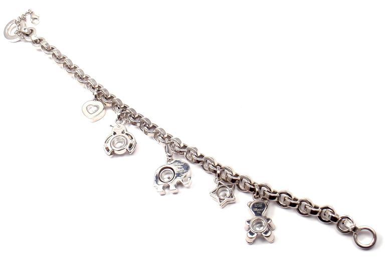 Women's or Men's Chopard Happy Diamond Elephant Ruby Ladybug Bear Heart White Gold Charm Bracelet For Sale