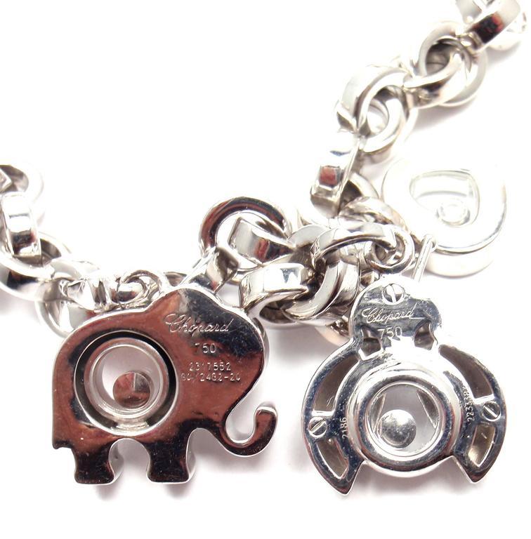 Chopard Happy Diamond Elephant Ruby Ladybug Bear Heart White Gold Charm Bracelet For Sale 2
