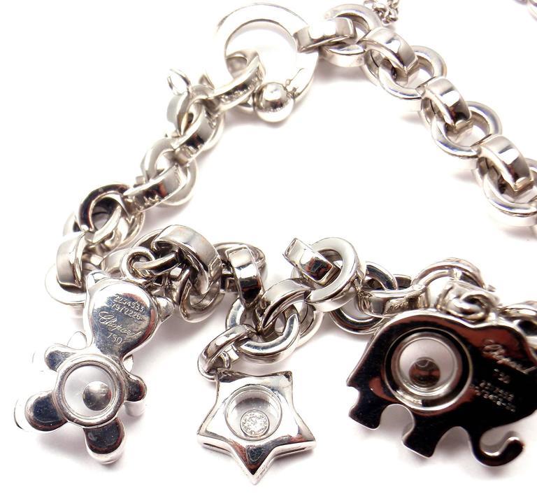 Chopard Happy Diamond Elephant Ruby Ladybug Bear Heart White Gold Charm Bracelet For Sale 3