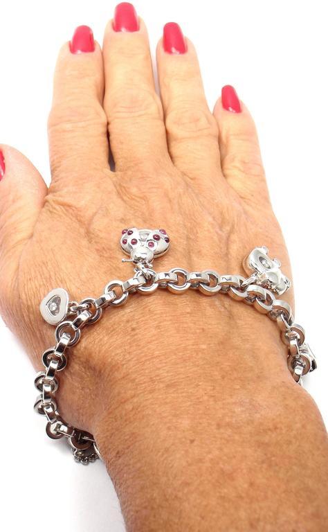 Chopard Happy Diamond Elephant Ruby Ladybug Bear Heart White Gold Charm Bracelet For Sale 5