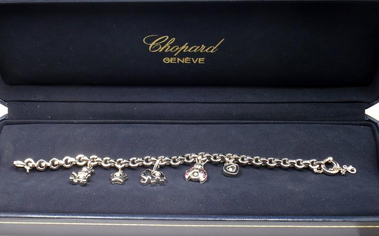 Chopard Happy Diamond Elephant Ruby Ladybug Bear Heart White Gold Charm Bracelet For Sale 6