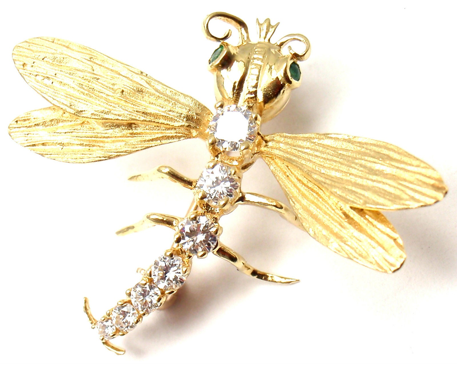 Herbert Rosenthal Diamond Gold Dragonfly Pin Brooch For Sale at 1stdibs