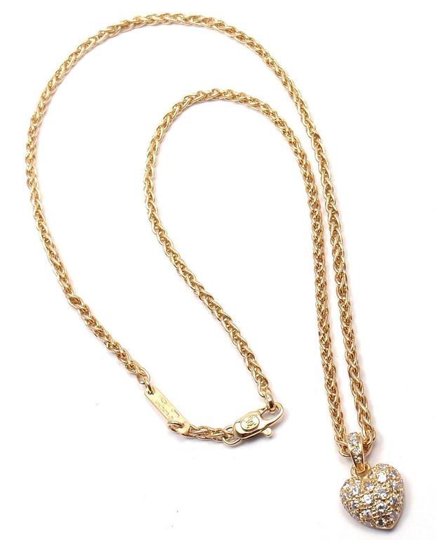 Cartier Diamond Gold Heart Pendant Necklace At 1stdibs